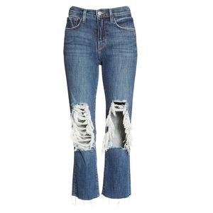 L'AGENCE Jordan High Rise Cropped Straight Distressed Classic Vintage Jeans 30
